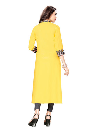 Yellow Rayon Fabric A-line Kurtis for Women