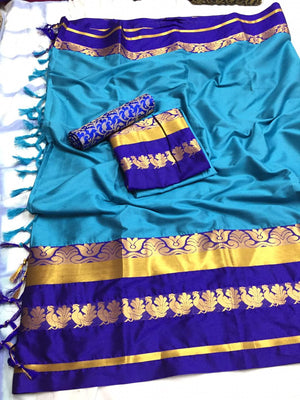 Designer Cotton Silk Saree With Sky and Blue Border Saree