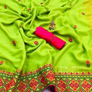 New Designer Chiffon Saree With Embroidered Work