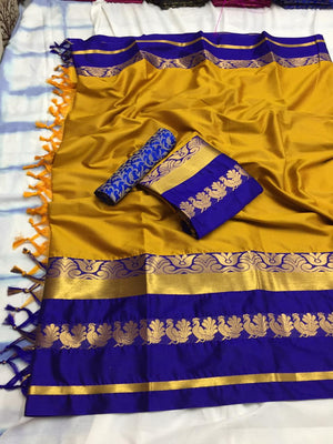 Designer Cotton Silk Saree With Yellow and Blue Border Saree