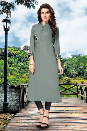 Gray Rayon Fabric A-line Kurtis for Women