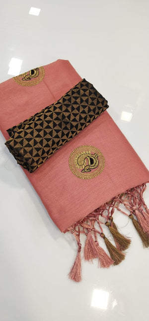 BEAUTIFUL RANGOLI SILK FABRIC WITH EMBROIDERY WORK WITH JACORD BLOUSE