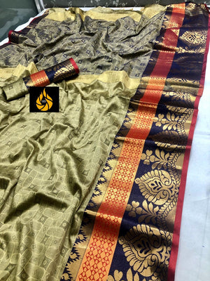 Designer Rich Cotton Silk Saree With Emboss Look