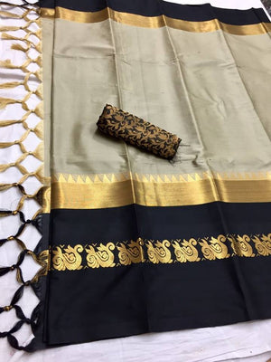 Designer Cotton Silk Fabric With Gray Color & Black Border Saree