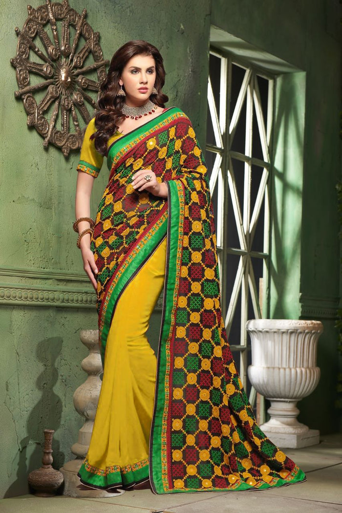 Heavy designer partywear sarees with very heavy embroidery work pallu with real mirror handwork and contrast skirt
