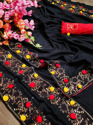 Designer Rangoli Silk Saree With Pum Pum Work & Havey Hotfixed Diamond Work