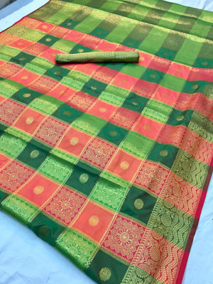 NEW DESIGNER SILK JAQUARD SAREE WITH RICH PALLU