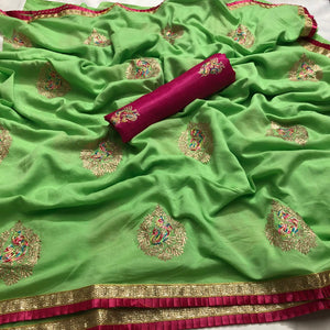 Vichitra Silk Embroidary Saree With Krise Lace With Satin Banglory Blouse