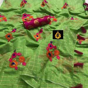 NEW BEAUTIFUL CHANDERI SILK SAREE WITH EMBRODAIRY WORK
