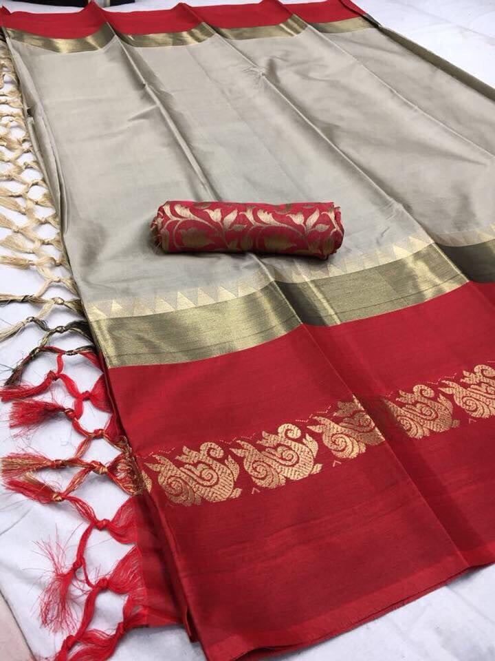 Party Wear With Cotton Silk Fabric With Light Gray Color & Red Border Saree )