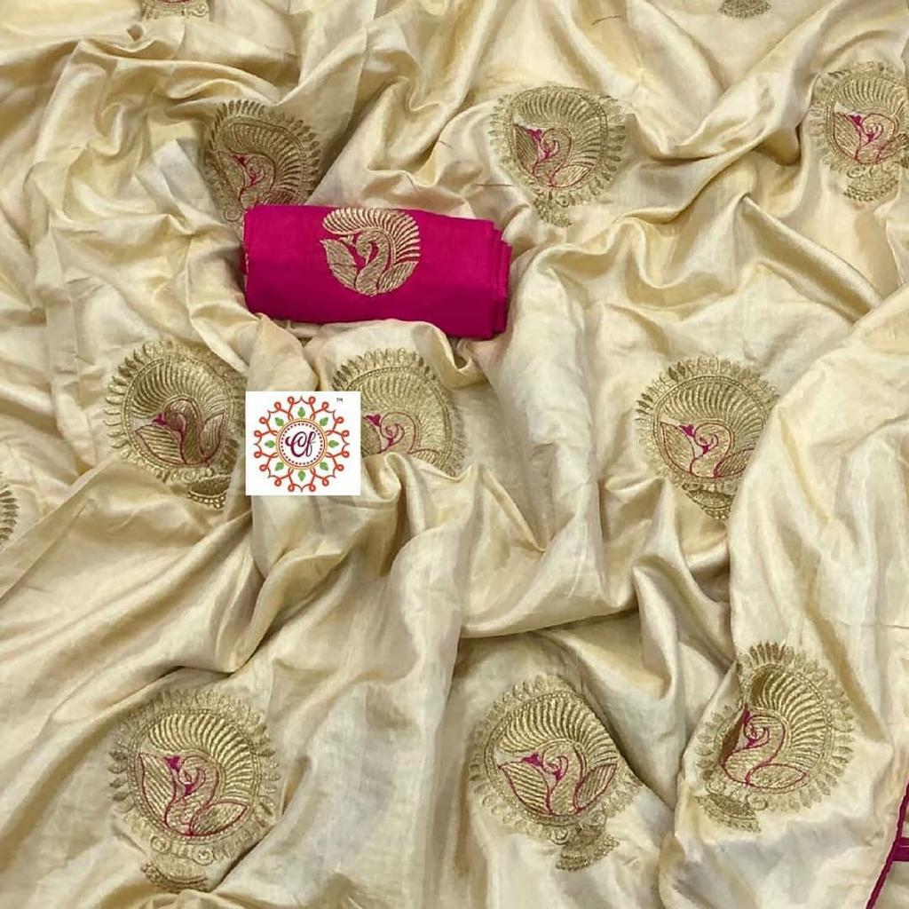 790ac1955cce1c BEAUTIFUL TWO TON SANA SILK FABRIC WITH EMBROIDERY WORK WITH BANGLORE SILK  BLOUSE