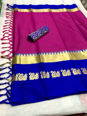 Designer Cotton Silk Fabric With Pink & Blue Border Saree