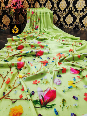 Pure Soft Cotton Silk With Beautiful Flower Print
