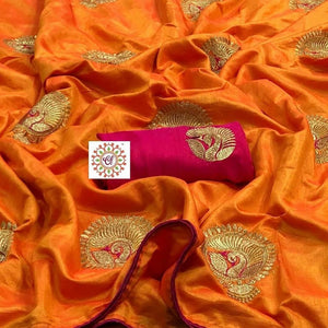 BEAUTIFUL TWO TON SANA SILK FABRIC WITH EMBROIDERY WORK WITH BANGLORE SILK BLOUSE