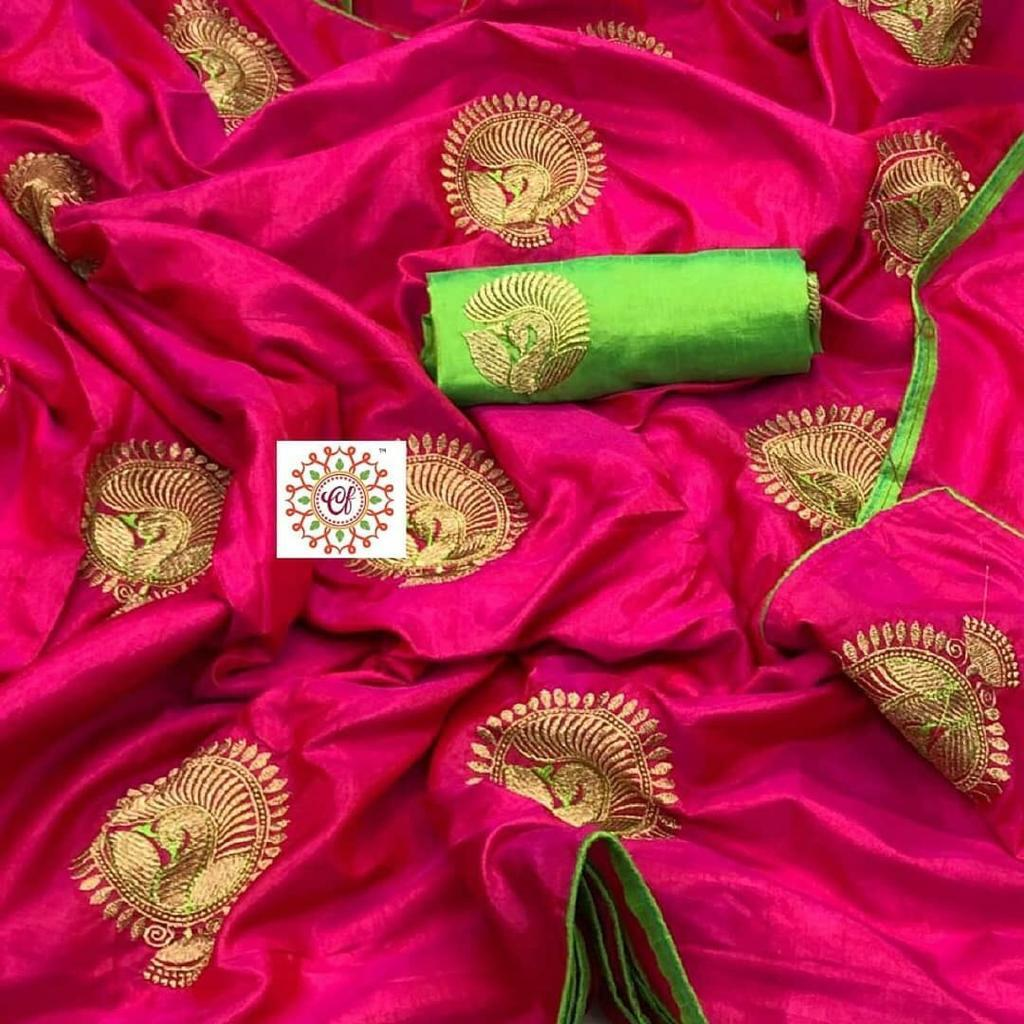 Beautiful Two Ton Sana Silk Fabric With Embroidery Work With