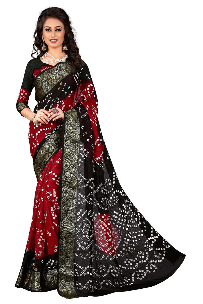 The Cotton Silk Bandhej saree