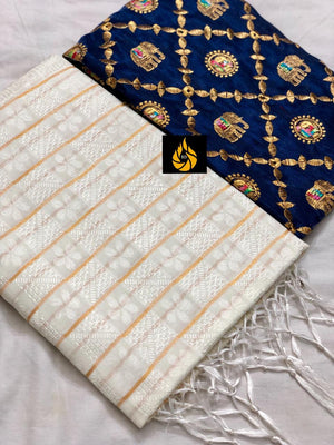 HEAVY BARFI SILK FABRIC WITH EMBRODIARY WORK BLOUSE