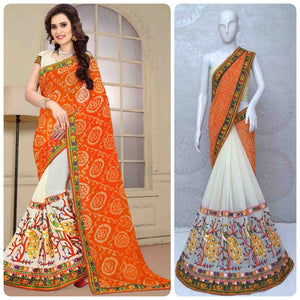 Designer Saree Kutchi Peacock Work With Real Mirror Handwork Saree