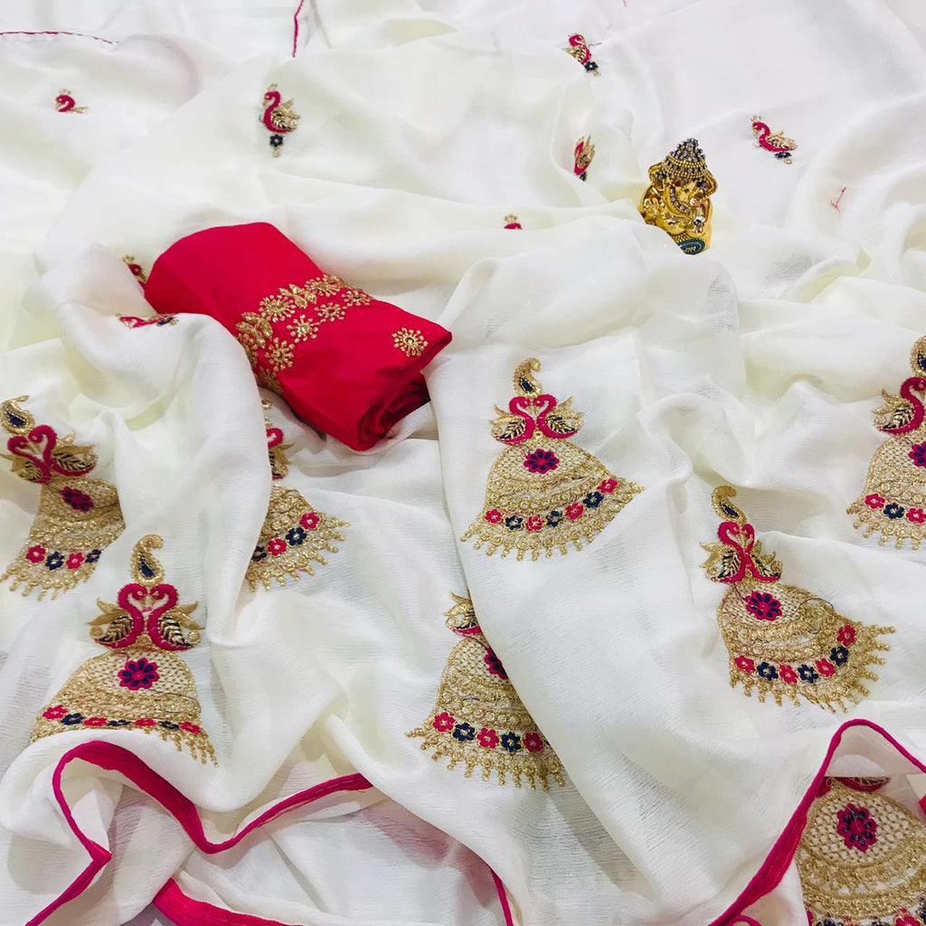 NEW DESIGNER WHITE CHIFFON SAREE WITH EMBROIDERED WORK