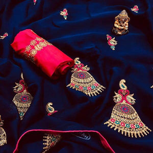 NEW DESIGNER ROYAL BLUE CHIFFON SAREE WITH EMBROIDERED WORK