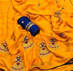 NEW DESIGNER YELLOW CHIFFON SAREE WITH EMBROIDERED WORK
