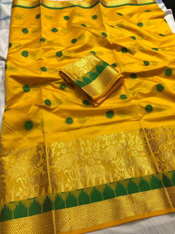 NEW DESIGNER PARTYWERE COTTON SILK SAREE WITH RUNNING BLOUSE PICES