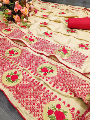 DESIGNER SANA SILK SAREE WITH PIPING BORDER