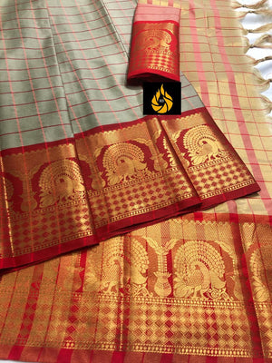 Designer Cotton Silk Saree With Beautiful Peacock Border