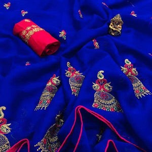 NEW DESIGNER BLUE CHIFFON SAREE WITH EMBROIDERED WORK
