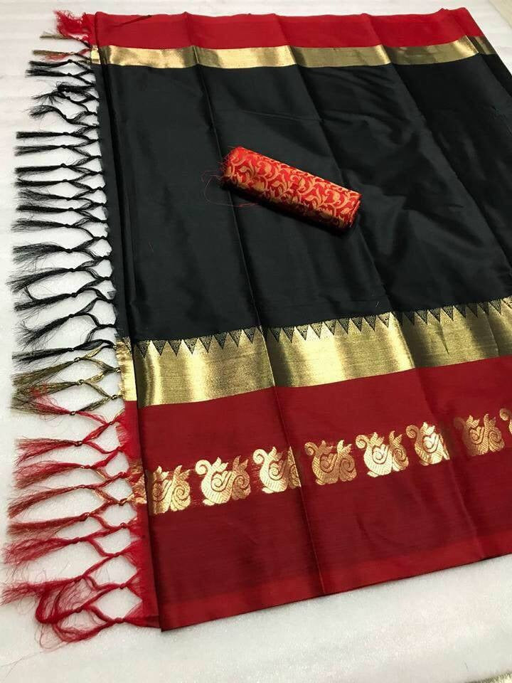 Party Wear With Cotton Silk Fabric With Black & Red Border Saree