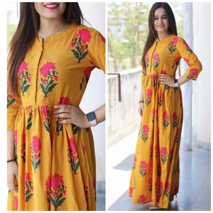 Yellow Long Maxi With American Crepe Fabric For Women