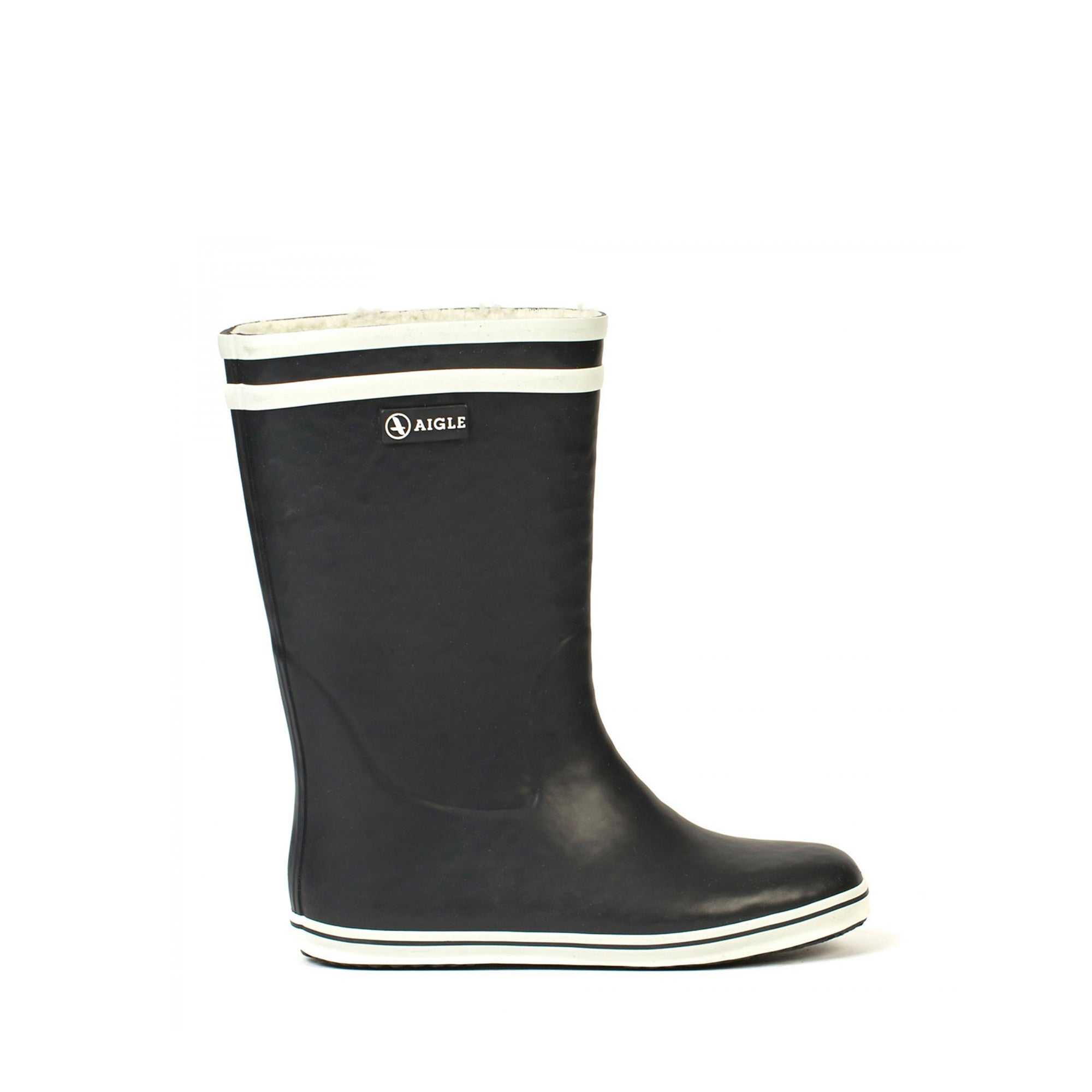 Malouine Fur Lined Rubber Boots <br> Marine