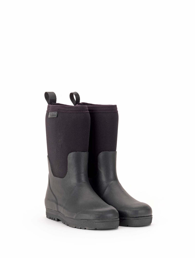 Woody Cross Rubber Boot <br> Black
