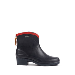 Miss Juliette Fur Lined Rubber Ankle Boots <br> Marine/Red