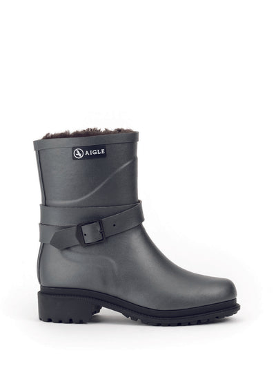 Macadames Mid Fur Lined Rubber Boots <br> Metallic
