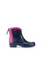 Miss Juliette Colourblock Rubber Ankle Boots <br> Indigo/Dahlia