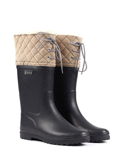 Polka Giboulee Rubber Boots <br> Marine/Beige