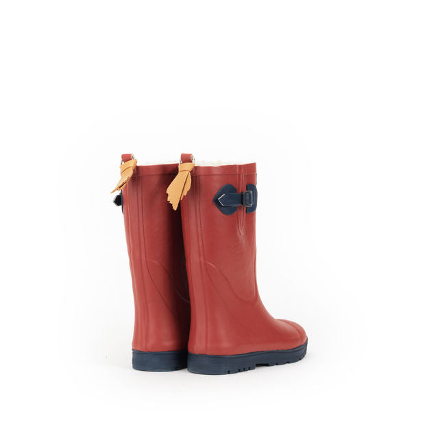 Woodypop Fur Lined Rubber Boots <br> Cinabre