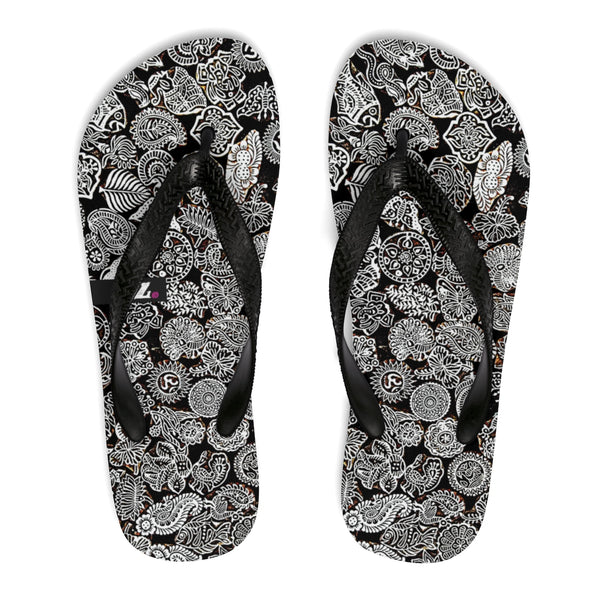 Black & White Doodles Flip-Flops