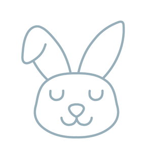 illustrated sleepy bunny face