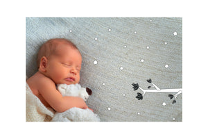 baby sleeping hugging teddy bear with stars and branch illustration