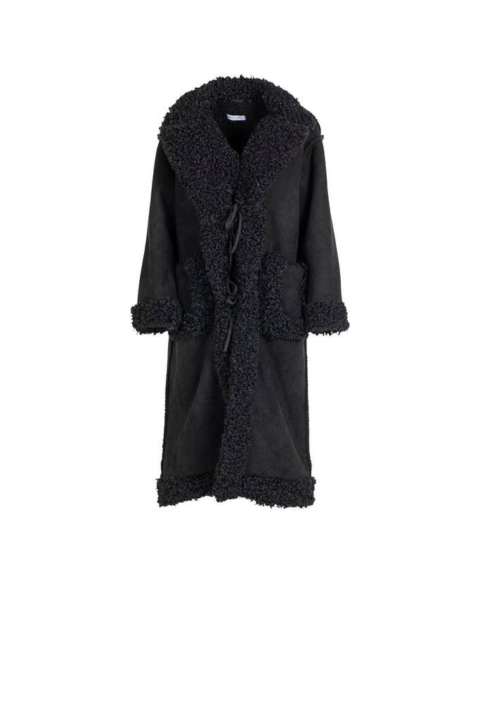 Weili Zheng Cappotto Long Cut In Eco-Montone