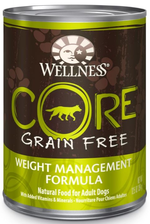 Wellness CORE Grain Free Natural Weight Management Chicken Pork Liver, Whitefish and Turkey Recipe Wet Canned Dog Food