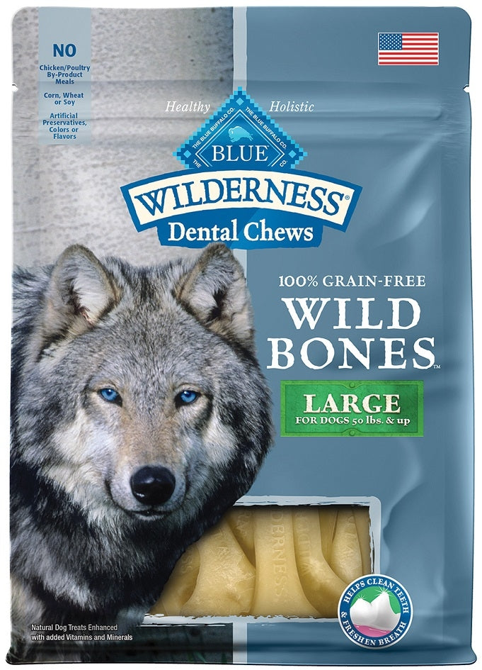 Blue Buffalo Wilderness Wild Bones Dental Chews Large Size for Dogs