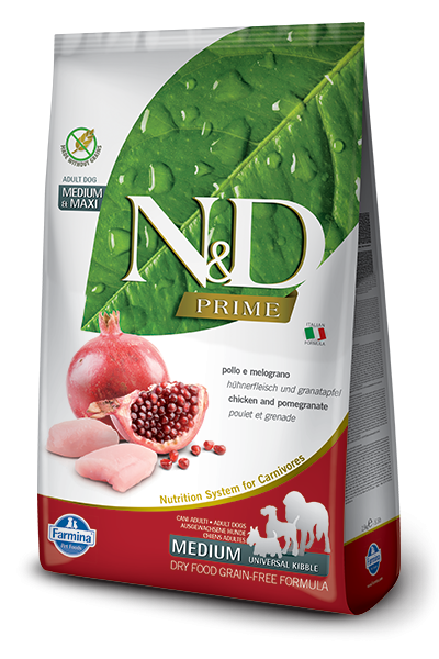 Farmina Prime N&D Natural & Delicious Grain Free Medium Adult Chicken & Pomegranate Dry Dog Food