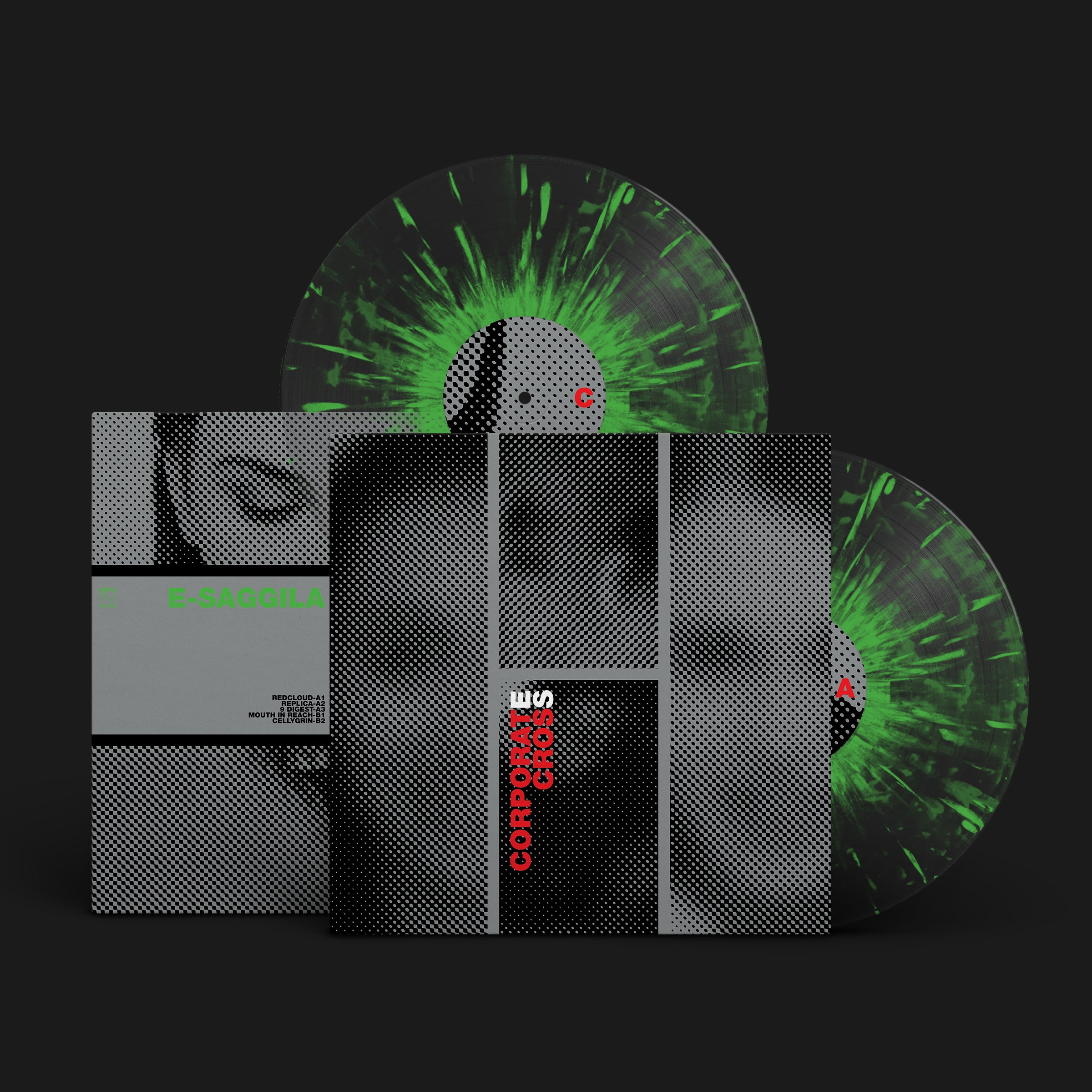 E-SAGGILA | CORPORATE CROSS | 2XLP CLEAR WITH GREEN SPLATTER VINYL