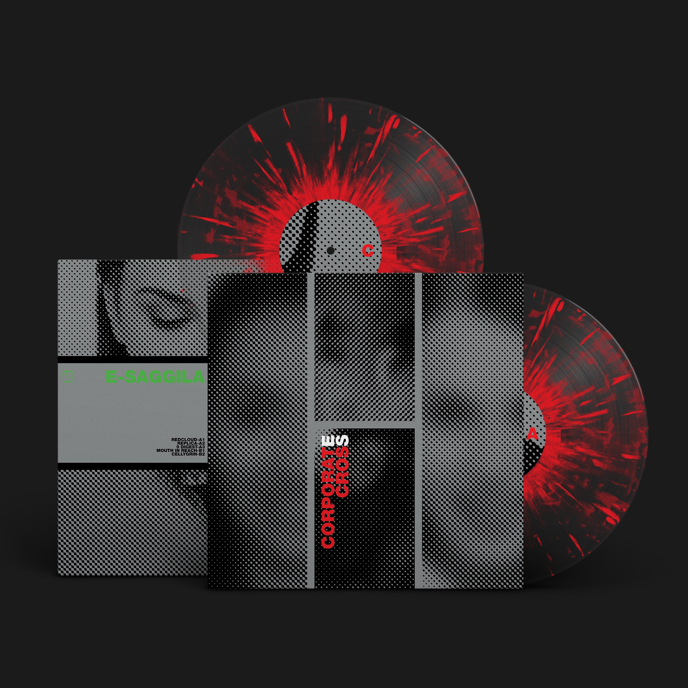 E-SAGGILA | CORPORATE CROSS | 2XLP CLEAR WITH RED SPLATTER VINYL