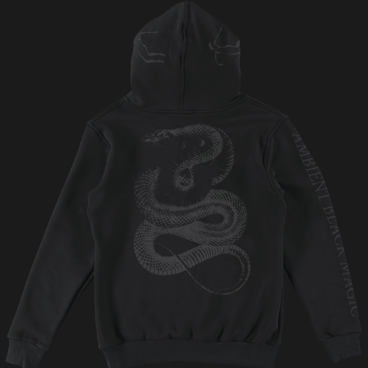 AMBIENT BLACK MAGIC POCKET PRINT HOODIE | BLACK ON BLACK print