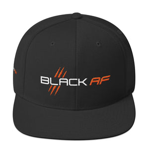 Black AF 6-Panel Snapback Hat (Orange) - TribalAF