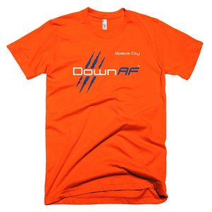 Down AF Fine Jersey Short Sleeve Men T-Shirt (Houston- Orange & Blue) - TribalAF